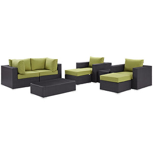 Modway Furniture Modern Convene 8 Piece Outdoor Patio Sectional Set EEI-2206-Minimal & Modern