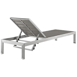 Modway Furniture Modern Shore Outdoor Patio Aluminum Chaise in Silver Gray EEI-2247-SLV-GRY-Minimal & Modern