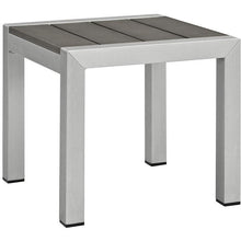 Modway Furniture Modern Shore Outdoor Patio Aluminum Side Table in Silver Gray EEI-2248-SLV-GRY-Minimal & Modern