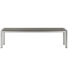 Modway Furniture Modern Shore Outdoor Patio Aluminum Bench in Silver Gray EEI-2252-SLV-GRY-Minimal & Modern