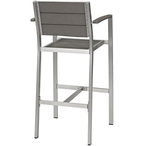 Modway Furniture Modern Shore Outdoor Patio Aluminum Bar Stool in Silver Gray EEI-2254-SLV-GRY-Minimal & Modern