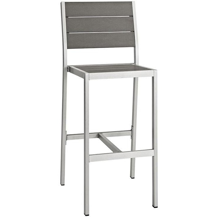 Modway Furniture Modern Shore Outdoor Patio Aluminum Bar Stool in Silver Gray EEI-2255-SLV-GRY-Minimal & Modern