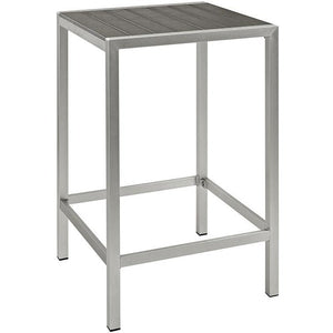 Modway Furniture Modern Shore Outdoor Patio Aluminum Bar Table in Silver Gray EEI-2256-SLV-GRY-Minimal & Modern