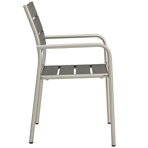 Modway Furniture Modern Shore Outdoor Patio Aluminum Dining Chair in Silver Gray EEI-2258-SLV-GRY-Minimal & Modern