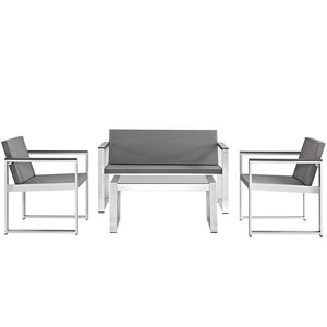 Modway Furniture Modern Triumph Outdoor Patio Aluminum Patio Sectional Set in Silver Gray EEI-2260-SLV-GRY-Minimal & Modern