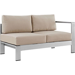 Modway Furniture Modern Shore Outdoor Patio Aluminum Loveseat EEI-2262-SLV-Minimal & Modern