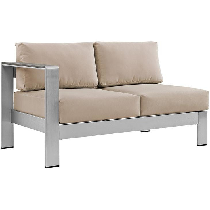 Modway Furniture Modern Shore Left-arm Corner Sectional Outdoor Patio Aluminum Loveseat EEI-2265-Minimal & Modern