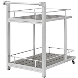 Modway Furniture Modern Shore Outdoor Patio Beverage Cart in Silver Gray EEI-2269-SLV-GRY-Minimal & Modern