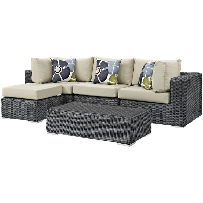 Modway Furniture Modern Summon 5 Piece Outdoor Patio Sunbrella® Sectional Set - EEI-2398-Minimal & Modern