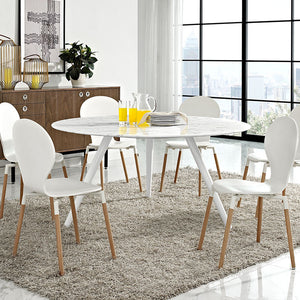 "Modway Furniture Lippa 60"" Artificial Marble Dining Table With Tripod Base In White - EEI-2527-WHI-Minimal & Modern"