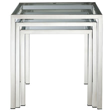 Modway Furniture Modern Glass and Metal Nimble Nesting Table in Silver EEI-257-Minimal & Modern