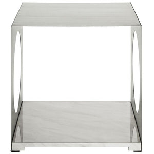Modway Furniture Modern Stainless Steel and Artificial Marble Base Surpass Side Table EEI-258-WHI-Minimal & Modern