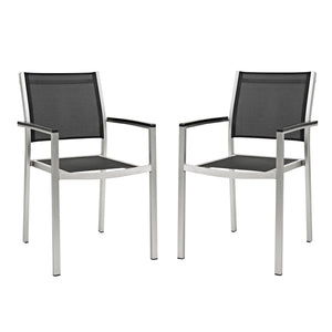 Modway Furniture Modern Shore Dining Chair Outdoor Patio Aluminum Set of 2 - EEI-2586