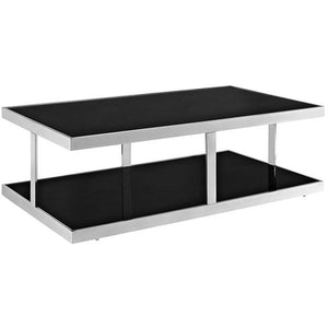 Modway Furniture Modern Two Level Metal Absorb Coffee Table in Black EEI-259-BLK-Minimal & Modern