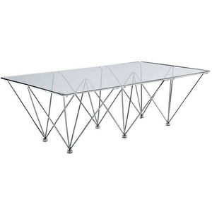 Modway Furniture Modern Glass and Metal Prism Rectangle Coffee Table in Clear EEI-260-Minimal & Modern