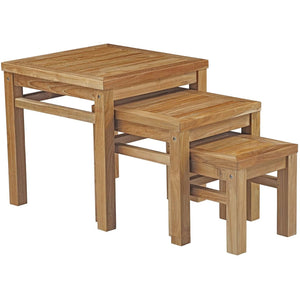 Modway Furniture Modern Marina Outdoor Patio Teak Nesting Table - EEI-2704-Minimal & Modern