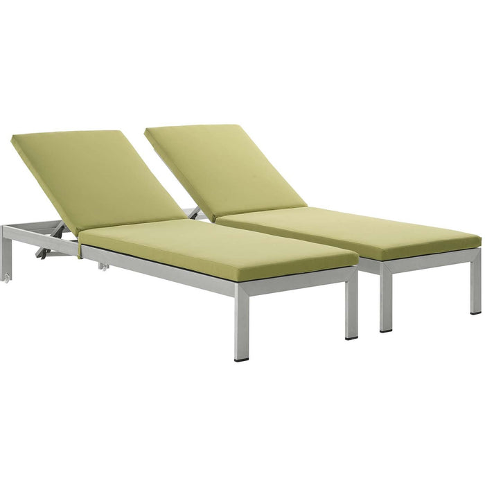 Modway Furniture Modern Shore Chaise with Cushions Outdoor Patio Aluminum Set of 2 - EEI-2737-Minimal & Modern