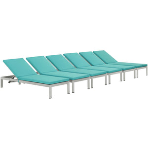 Modway Furniture Modern Shore Chaise with Cushions Outdoor Patio Aluminum Set of 6 - EEI-2739-Minimal & Modern