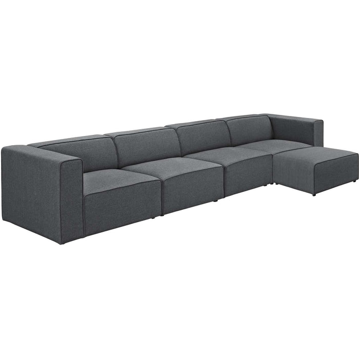 Modway Furniture Modern Mingle 5 Piece Upholstered Fabric Sectional Sofa Set - EEI-2833-Minimal & Modern