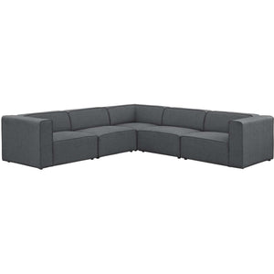 Modway Furniture Modern Mingle 5 Piece Upholstered Fabric Sectional Sofa Set - EEI-2835-Minimal & Modern