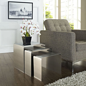 Modway Furniture Metal Rush Nesting Three Piece Side Table in Silver EEI-286-SLV-Minimal & Modern