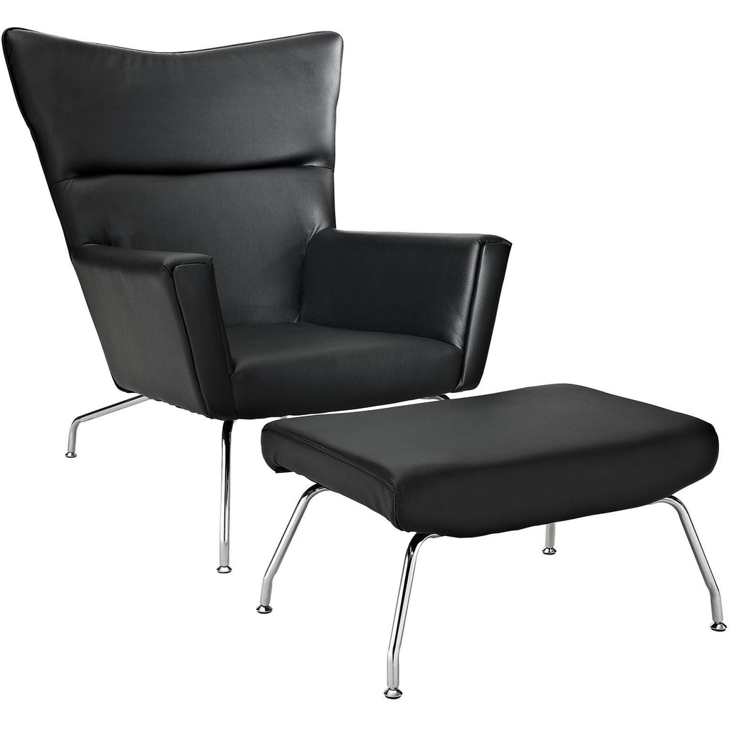 Modway Furniture Modern Class Leather Lounge Chair Black, Chairs - Modway Furniture, Minimal & Modern - 1