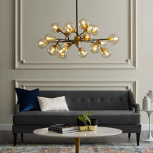 Modway Furniture Modern Sparkle Amber Glass And Antique Brass 18 Light Mid-Century Pendant Chandelier - EEI-2890