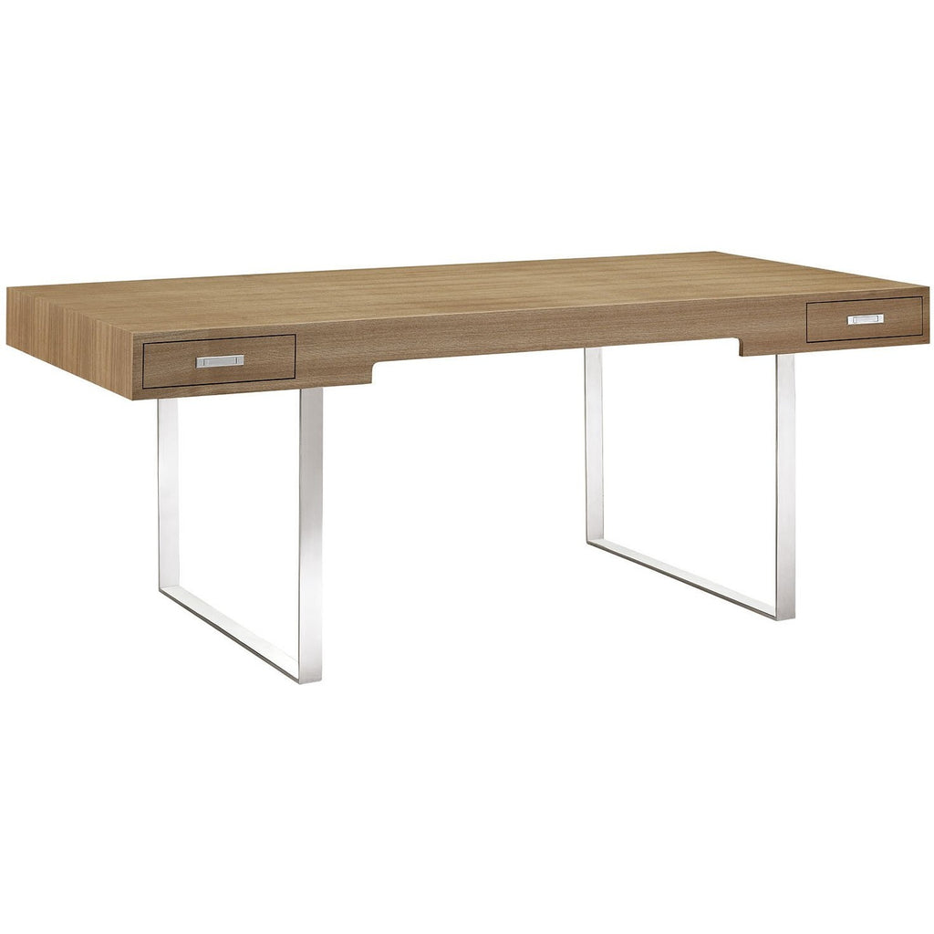 modway furniture modern writing metal and wood tinker office