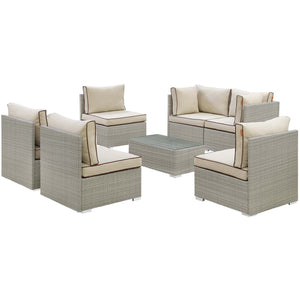 Modway Furniture Modern Repose 7 Piece Outdoor Patio Sectional Set - EEI-3004