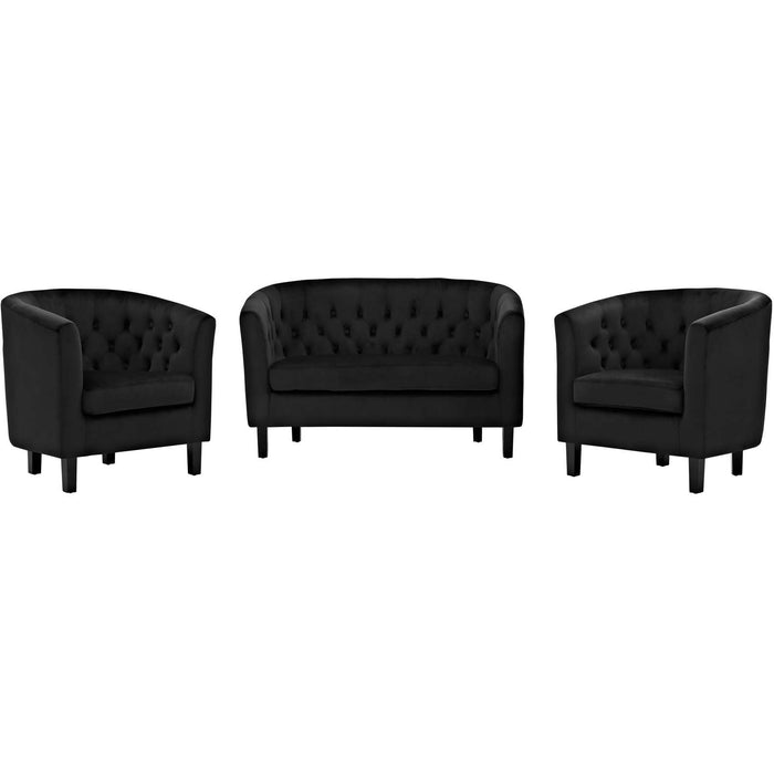 Modway Furniture Modern Prospect 3 Piece Velvet Loveseat and Armchair Set - EEI-3152