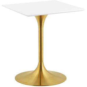 "Modway Furniture Modern Lippa 24"" Square Dining Table in Gold White - EEI-3210"