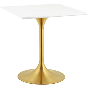 "Modway Furniture Modern Lippa 28"" Square Dining Table in Gold White - EEI-3211"
