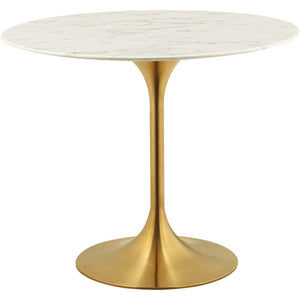 "Modway Furniture Modern Lippa 36"" Round Dining Table in Gold White - EEI-3214"