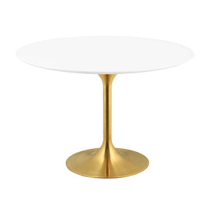 "Modway Furniture Modern Lippa 47"" Round Dining Table in Gold White - EEI-3227"