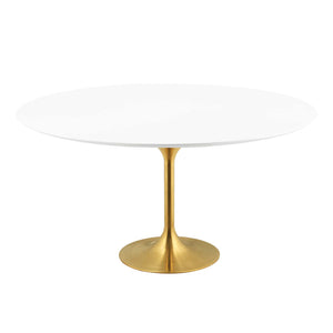 "Modway Furniture Modern Lippa 60"" Round Dining Table in Gold White - EEI-3229"