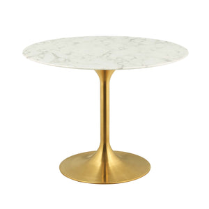 "Modway Furniture Modern Lippa 40"" Round Dining Table in Gold White - EEI-3231"