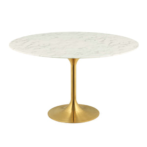 "Modway Furniture Modern Lippa 54"" Round Dining Table in Gold White - EEI-3233"