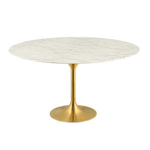 "Modway Furniture Modern Lippa 60"" Round Dining Table in Gold White - EEI-3234"