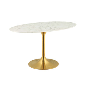 "Modway Furniture Modern Lippa 54"" Oval Dining Table in Gold White - EEI-3235"
