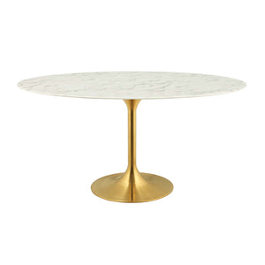 "Modway Furniture Modern Lippa 60"" Oval Dining Table in Gold White - EEI-3236"