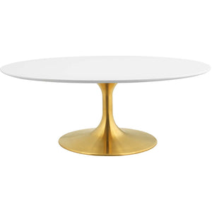 "Modway Furniture Modern Lippa 42"" Oval-Shaped Coffee Table in Gold White - EEI-3248"