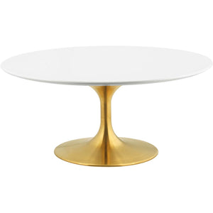 "Modway Furniture Modern Lippa 36"" Coffee Table in Gold White - EEI-3250"
