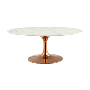 "Modway Furniture Modern Lippa 42"" Oval-Shaped Coffee Table in Rose Gold - EEI-3252"