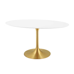 "Modway Furniture Modern Lippa 60"" Oval Dining Table in Gold White - EEI-3254"