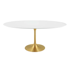 "Modway Furniture Modern Lippa 78"" Oval Dining Table in Gold White - EEI-3255"