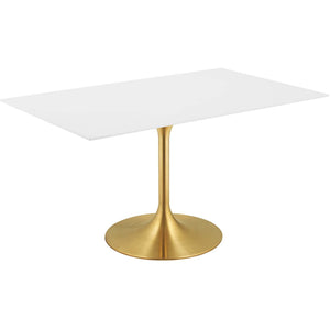 "Modway Furniture Modern Lippa 60"" Rectangle Dining Table in Gold White - EEI-3256"