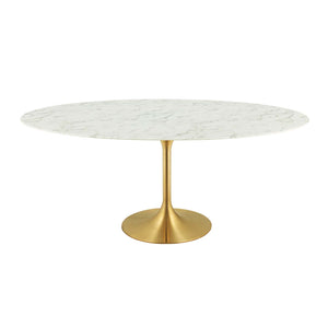 "Modway Furniture Modern Lippa 78"" Oval Dining Table in Gold And Marble top - EEI-3257"