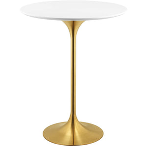 "Modway Furniture Modern Lippa 28"" Bar Table in Gold White - EEI-3262"