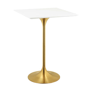 "Modway Furniture Modern Lippa 28"" Square Bar Table in Gold White - EEI-3263"