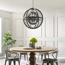 Modway Furniture Modern Gravitate Globe Rustic Oak Wood Pendant Light Chandelier - EEI-3271